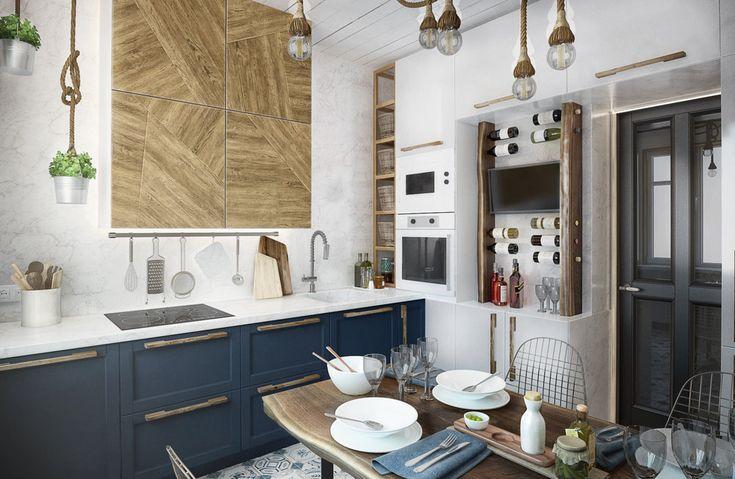 Керамическая плитка на полу, фреска на потолке, зеркала на стене – дизайнеры ToTaste Studio рассказывают, как превратить загроможденную кухню в пространство, где хочется не только готовить