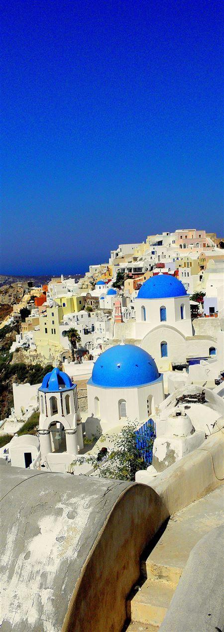 Blue domes on the cliffs of Santorini ====   Azamara Club Cruises - Greek Island Cruise July 2015