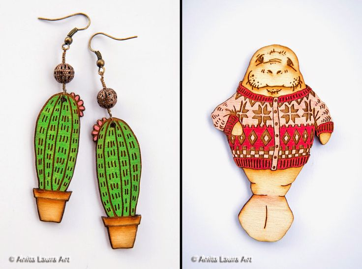 Cactus Earrings - Manatee in Sweater Magnet - Hand Drawn and Painted - Laser Cut Wood - Anita Laura Art