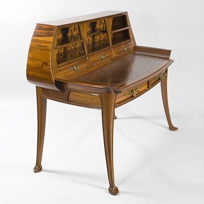 French Art Nouveau Desk / Louis Majorelle / c. 1904 / carved courbaril and mahogany with fruitwood marquetry