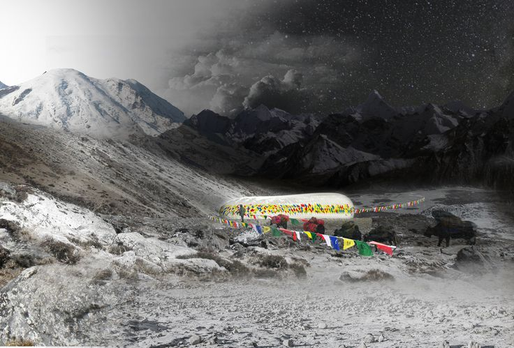 Rising from the basic human need for shelter in an unforgiving climate, the Himalayan Mountain Hut carries the potential to house mountaineering expeditions throughout the trails of Nepal. The quality of submissions for the competition was quite high, and the judges were presented with a wide variety of solutions, ranging from simple tent communes to vast multi-level hospitality structures. 2nd PRIZE WINNERS: Dorota Szlachcic, Mariusz Szlachcic, Julia Kisielewska, Wojciech Klapcia.