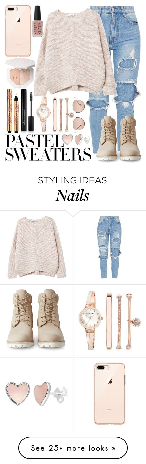"""pastel sweater"" by beingmyselfaf on Polyvore featuring Timberland, MANGO, Kester Black, Yves Saint Laurent, Forever 21, Anne Klein, Fendi and pastelsweaters"