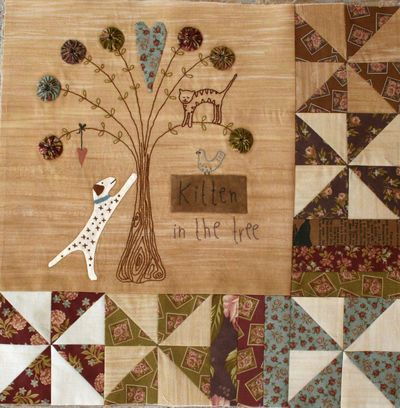 quilted and stitched story block by Lynette Anderson