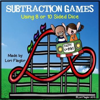 These adorable math games are just what your class needs to practice Subtraction facts from 20. It contains 8 math games using 8 or 10 sided dice. Don't have that kind of dice, don't worry templates are providedso you can make your own. Full color and less color options are available on some games.Skills included are differences from 20, 18, 16, 15, 14, 13,12, and 11.Math can be fun!