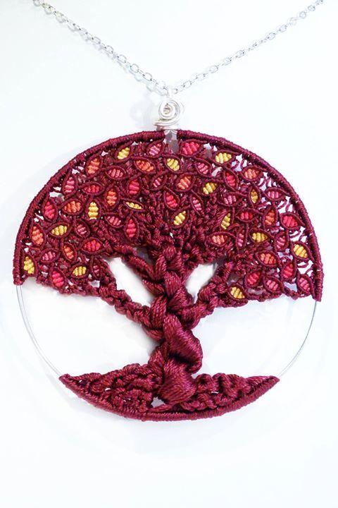 stupendo albero della vita !!! micro macrame - 7 cm diametro