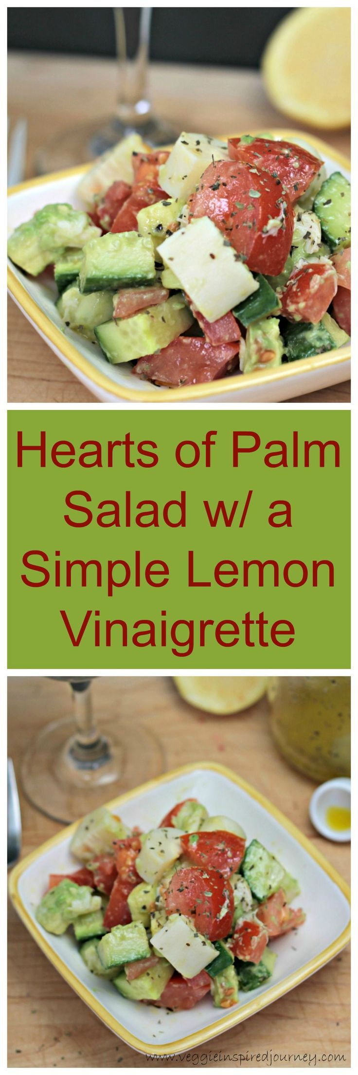 Hearts of Palm Salad w/ a Simple Lemon Vinaigrette - just few simple ingredients come together in mere minutes to create this delicious flavorful salad. #vegan #heartsofpalm #salad #healthy #wfpb