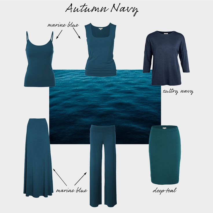 Autumns look great in pretty much every single shade of teal, and your best navy is actually a very dark teal rather than a true navy. Although many Autumns can and do compromise a little by wearing Winter's true navy, which harmonises well with all of the Autumn palette, your best look is always going to be that deep teal shade.