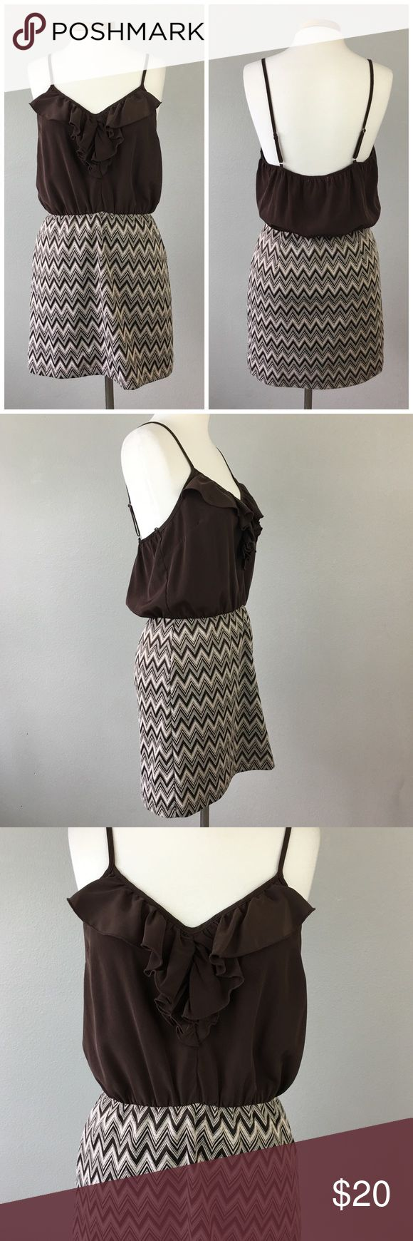 Apricot Lane Boutique Chevron Tank Brown Dress Apricot Lane Boutique Chevron Tank Brown Dress. Size large (12). Dress has adjustable straps and slight stretch. Hits slightly above the knee in length. Thank you for looking at my listing. Please feel free to comment with any questions (no trades/modeling).  •Fabric: polyester spandex blend  •Condition: Very good! No visible flaws.   ✨Bundle and save!✨10% off 2 items, 20% off 3 items & 30% off 5+ items! KA apricot lane Dresses Mini