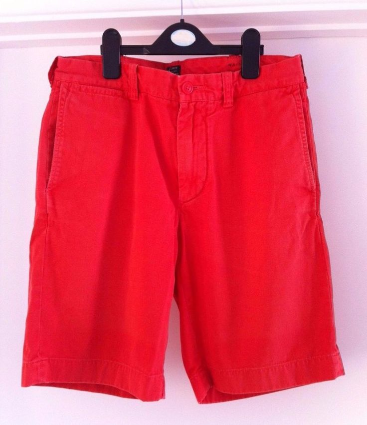 "Mens 100% Cotton J.Crew Red STANTON SHORTS. 9"" Length. Waist 30"" RRP £65.00"