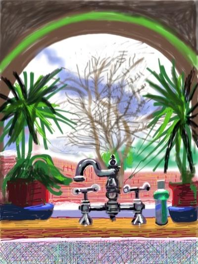 David Hockney at home