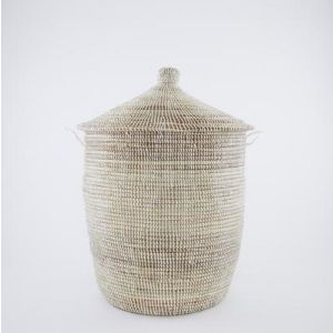 Chairworks Small White Conical Laundry Basket : Style London-based Chairworks designs and produces an eclectic range of handcrafted items from all over the world including woven kitchen baskets, storage hampers, laundry baskets and garden baskets. This exclusive, high quality alibaba laundry basket by Chairworks will give your interior an ethnic-chic style. Use to tidy linen or hide laundry!