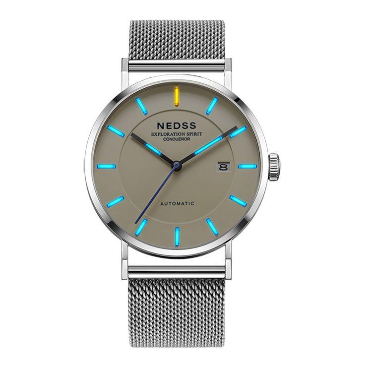 Luxury Brand NEDSS tritium watch Miyota 9015 Mechanical Watches Mechanische Uhren slim steel watches Luminous 50m waterproof