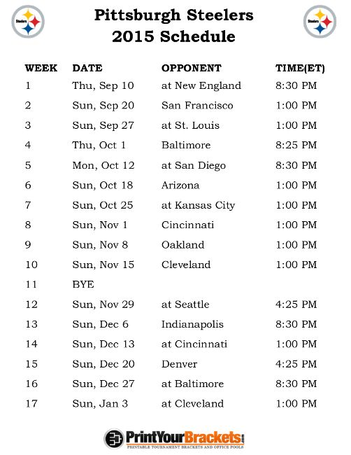 Printable Pittsburgh Steelers Schedule - 2015 Football Season