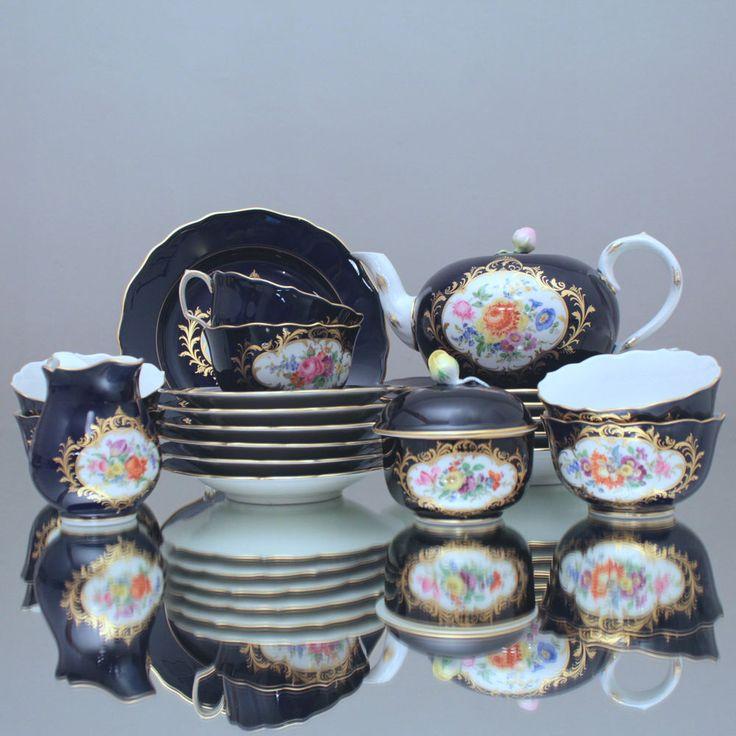 Meissen: Teeservice Kobalt Blau Blumen Goldspitzen Bordüre, tea pot cup Service, cobalt blue, flowers, Meissen Porcelain