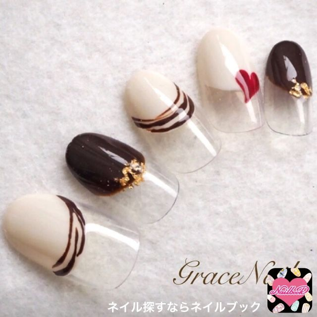 Nail design, brown, white, half