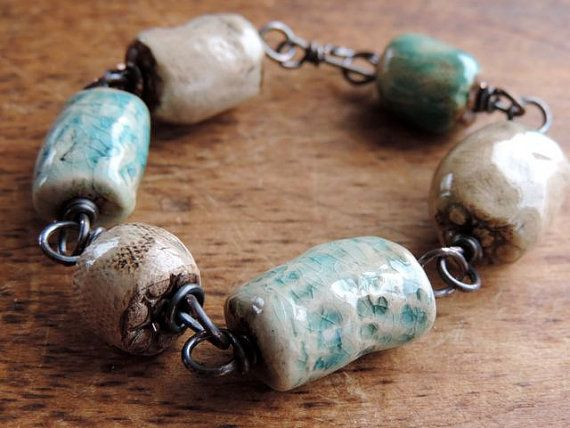 BeachcomberRustic Chunky Bracelet Antique Looking by WhatOnceWas