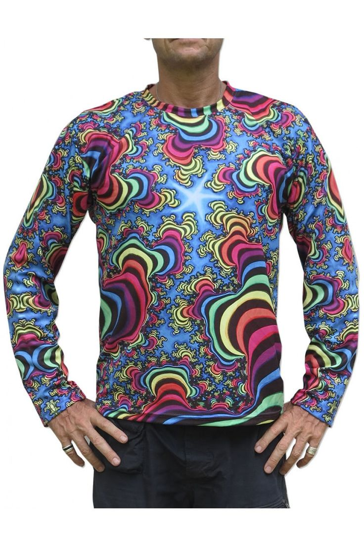"""Sublime L/S T : Rainbow Valley Fractal Fully printed long sleeve T shirt.  """"All Over"""" printed T shirt that will really grab people's attention. The design is printed using sublimation printing on a high quality polyester / Dri-Fit blended shirt. This allows for extremely vibrant colors that will never fade away no matter how many times it gets washed, & results in an extremely soft """"feel"""" to the shirt, providing ultimate comfort. Fabric is 100% Polyester/Dri-fit. Artwork by Space Tribe"""