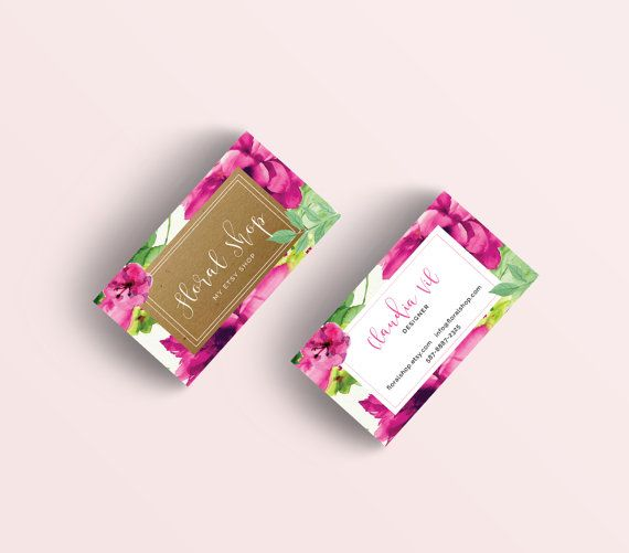 Floral Business Cards , Calligraphy Logo Cards , Calling Cards , Perfect For Your Business!