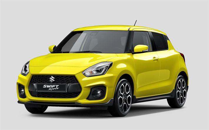 Descargar fondos de pantalla Suzuki Swift Sport, 2018 coches, hatchback, amarillo Swift, los coches japoneses, Suzuki
