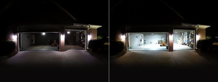 Garage Lights and Shop Lights. Before and after. http://www.bigasslight.com/homes-shops/ Big Ass Light Bay fixture. High Bay LED, Low Bay LED, The Garage Light, Best LED fixture.