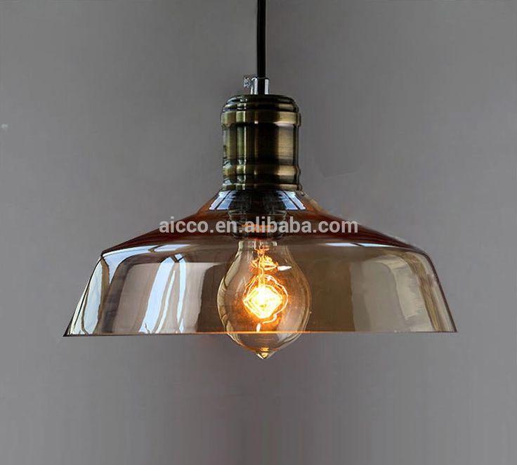 Pingente Com Vidro Âmbar Pingente Moderno de Iluminação Industrial do vintage