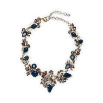 Erickson Beamon Navy Necklace - Featuring interlinked abstract clusters of faceted crystals imbued in sparkling navy blues and purples, this eye-catching statement necklace from Erickson Beamon offers a modern, glamorous touch.