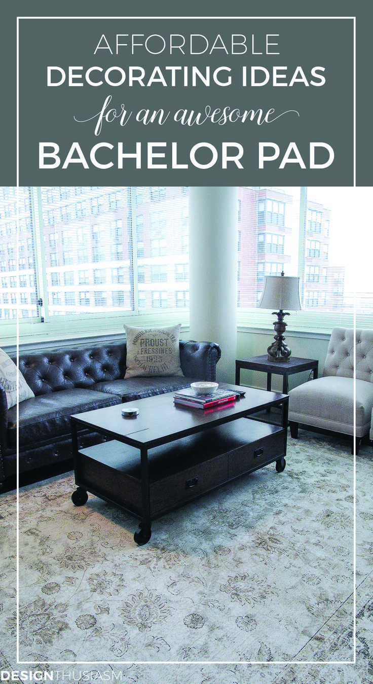 Affordable decorating ideas for an awesome bachelor pad | Bachelor pad decor ideas | Masculine apartment decor ideas for bedroom and living room on a budget | Modern industrial interior style | designthusiasm.com