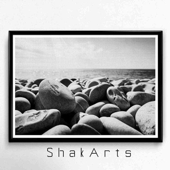 stampa di pietre bianche e nere, foto di pietre, spiaggia fotografia, foto in bianco e nero, bianco e nero decal, spiaggia foto, arredamento casa arte