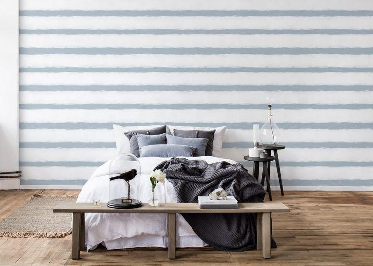 Wall mural met wit en blauwe strepen behang LIVING-shop.eu behang online