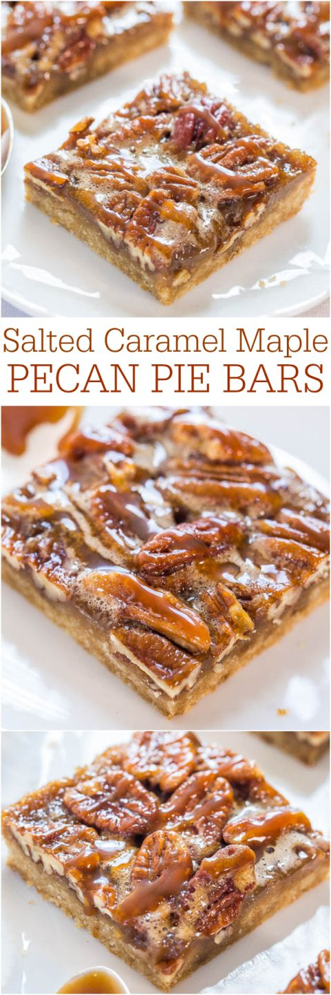 Salted Caramel Maple Pecan Pie Bars - All the flavor of pecan pie minus the work - so easy!! Salted caramel makes everything better! Your dad will love these on #FathersDay !