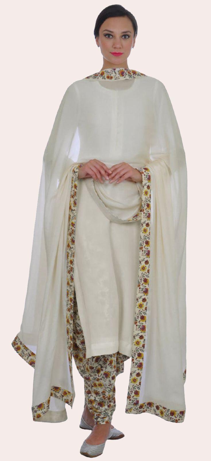 Cream Floral Print Dhoti/ Patitala Salwar Suit With Dupatta