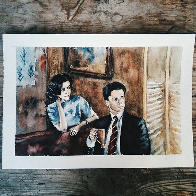"""Twin Peaks"", agent Dale Cooper & Audrey Horne   #art #inspiration #inspire #tvshow #twinpeaks #hudgrafblog #people #top_watercolor  #illustration #illustrator #waterblog #portrait #cafe #watercolor #painting #drawing #draw #moment #mood #relax #hobby #instaart #instadaily #instagood #vscoartist #vscoart #vscorussia #vscocam #vscodaily #vsco"