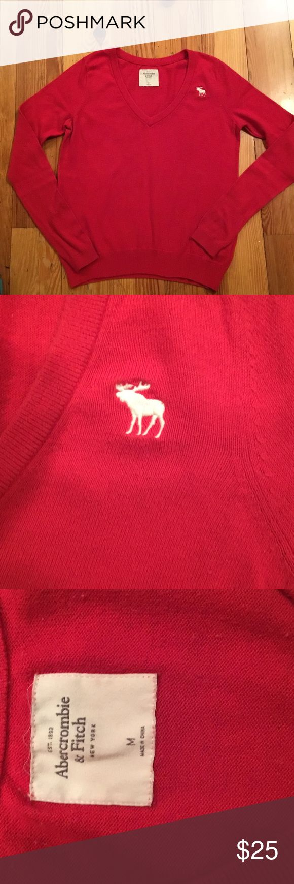NWOT ABERCROMBIE AND FITCH SWEATER HOLIDAY STYLE NEW WITHOUT TAGS ABERCROMBIE AND FITCH SWEATER. This is a cheerful red and will be great to wear with skirts, leggings or skinny jeans! Perfect to wear to a holiday party! In MINT CONDITION with no rips, stains, tears or pilling. FROM MY CLEAN NON SMOKING HOME. Check out my other items as I am cleaning out closets and listing a lot of good stuff.  I do bundle! Thanks for looking!!😊 I do bundle. Abercrombie & Fitch Sweaters V-Necks