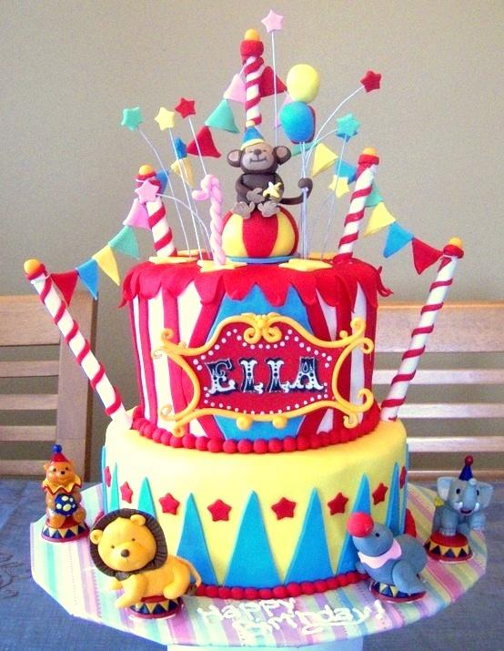circus cake ... I like the bunting idea
