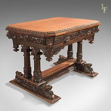 Antique Library Table, Victorian Oak, Scottish, Carved, Green Man, circa 1850