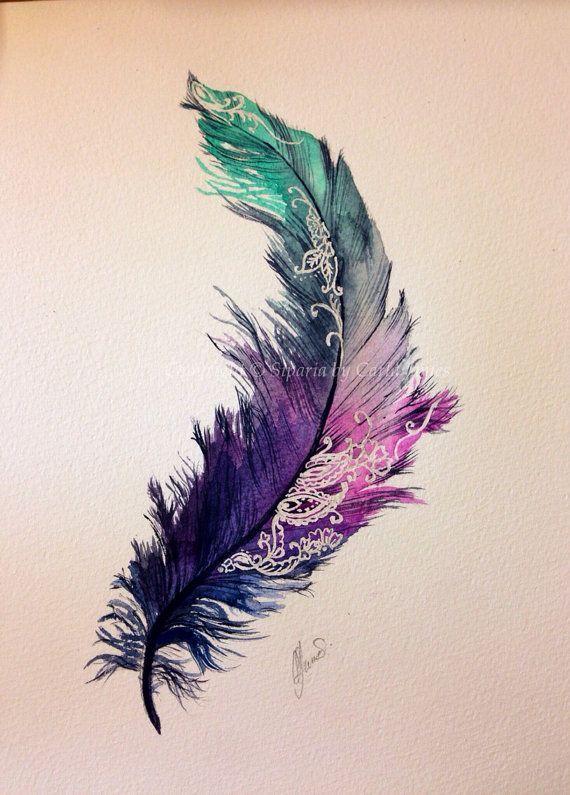 larasfedern.wordpress.com Feather painting on Etsy, £25.00