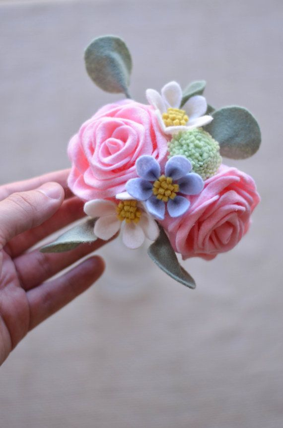 Rose Billy Button Wildflower & Eucalyptus Felt by LeaphBoutique