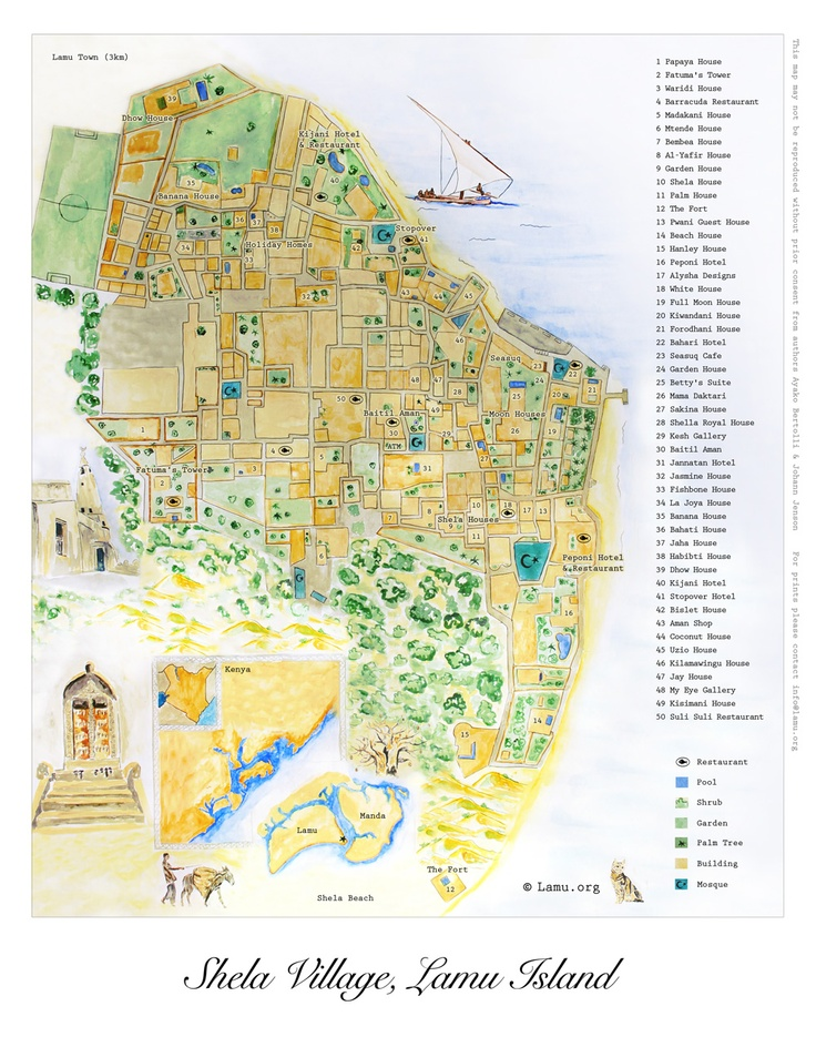Map of Shela Village, Lamu Island by Lamu.org