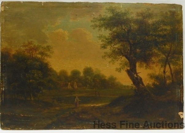 Antique late 18c dutch old master landscape panel painting for Wax landscape