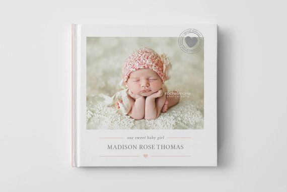 Baby Photo Book Cover Template for Photographers, Baby Album Templates, Baby Photo Book Cover Template, Newborn Templates - BC102