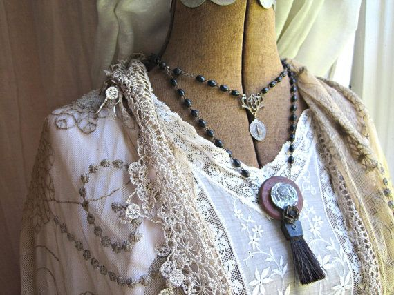 SALE antique, victorian tribal, rosary, jesus, assemblage, necklace. Ersaure.