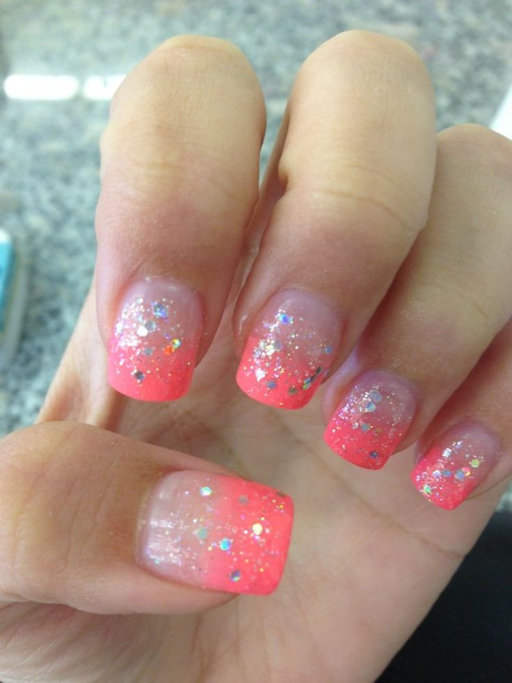 acrylic nail designs spring glitter - Google Search