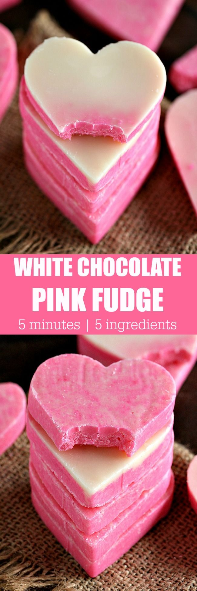 Pink White Chocolate Fudge is incredibly easy to make and very festive. 3 Ingredients, 5 minutes to get a creamy and irresistible fudge.