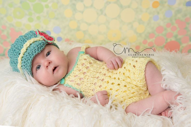 This knit romper suit and newsboy hat is perfect baby girl first outfit. Great photo prop for baby's first photo shoot. Also perfect everyday...