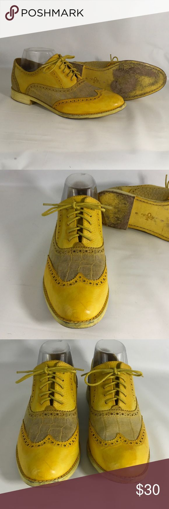 Cole Haan Yellow Women's Oxfords Shoes In good pre-owned condition.  There are scuff marks on the leather.  Scuffing of the heels. Cole Haan Shoes Flats & Loafers