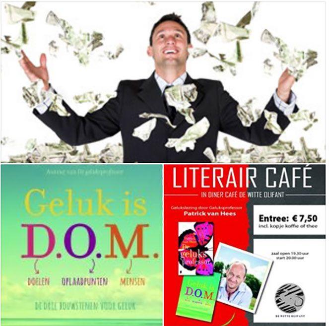 """Maandag 24 oktober is er weer een Bruna Literair Café bij de Witte Olifant in Klazienaveen met thema """"Geluk is DOM"""" door geluksprofessor Patrick van Hees."""