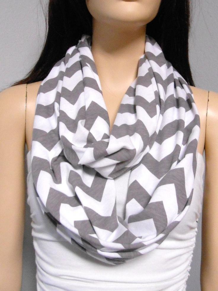White & Gray Chevron Print  Infinity Scarf Jersey Knit. $19.00, via Etsy.