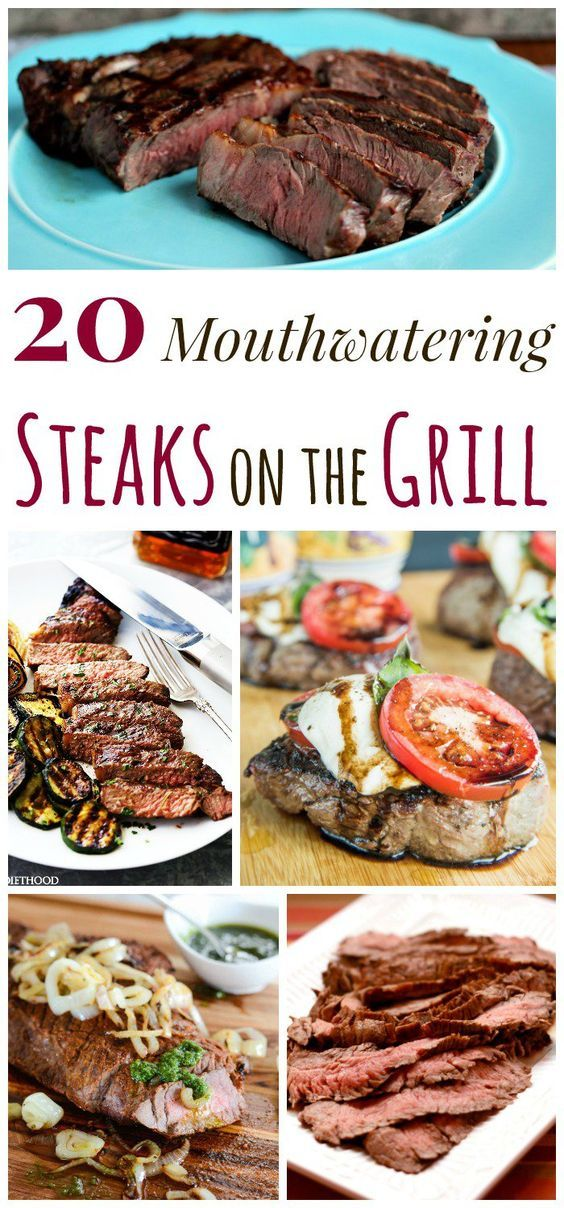 20 Mouthwatering Steaks on the Grill - from filet to flank steak, sirloin to NY strip, you are going to be grilling steaks all summer long with this recipe collection.