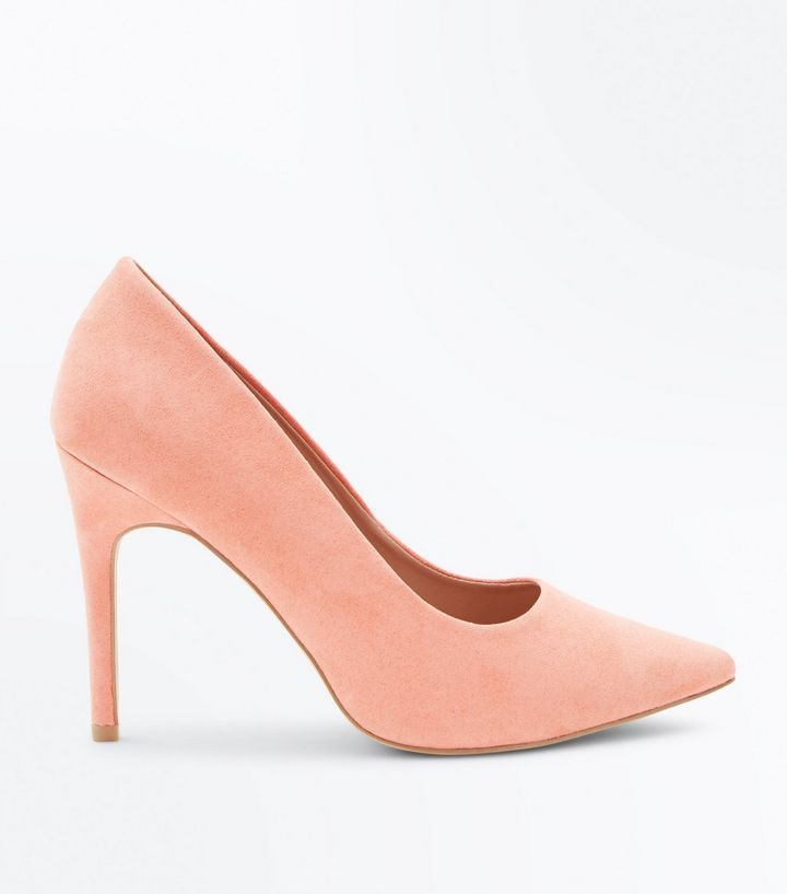 Wide Fit Coral Suedette Pointed Court