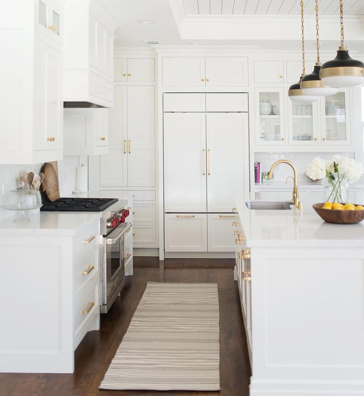 Our Los Altos Project Kitchen | www.studio-mcgee.com  Love the pendants - don't think they are available in brushed brass now - only antique brass